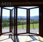 Aluminum glass folding doors with handle